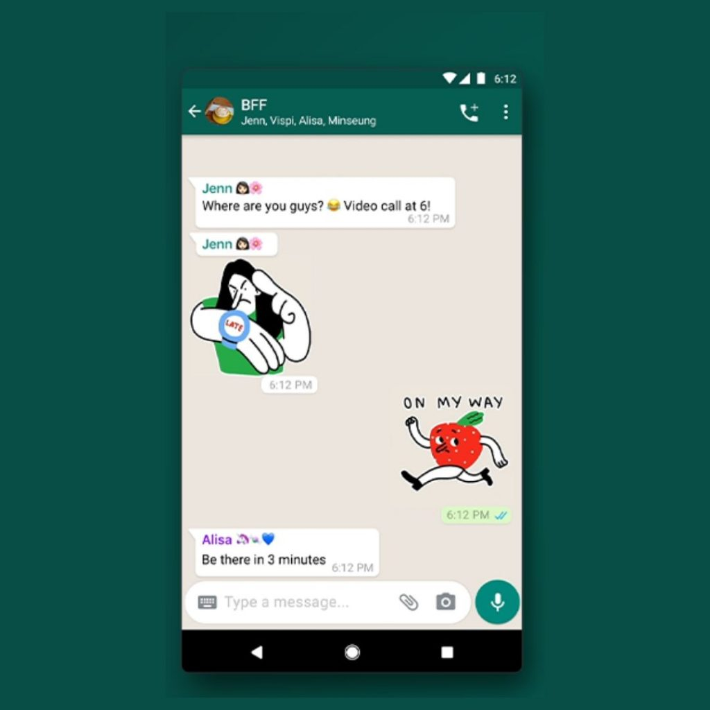 A Screenshot of Animated Stickers on WhatsApp