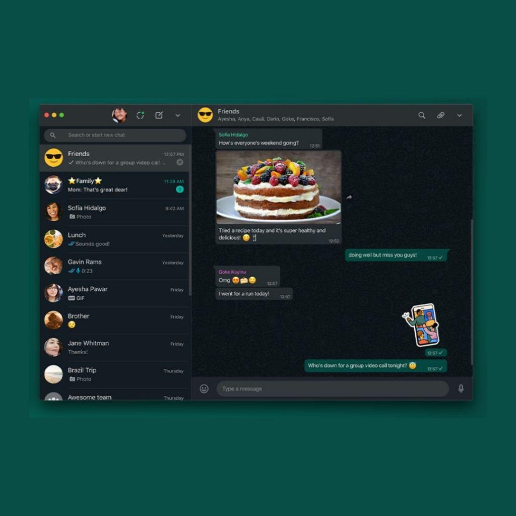 A screenshot of a computer in WhtsApp Dark Mode Theme