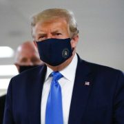 President Donald Trump wearing a mask