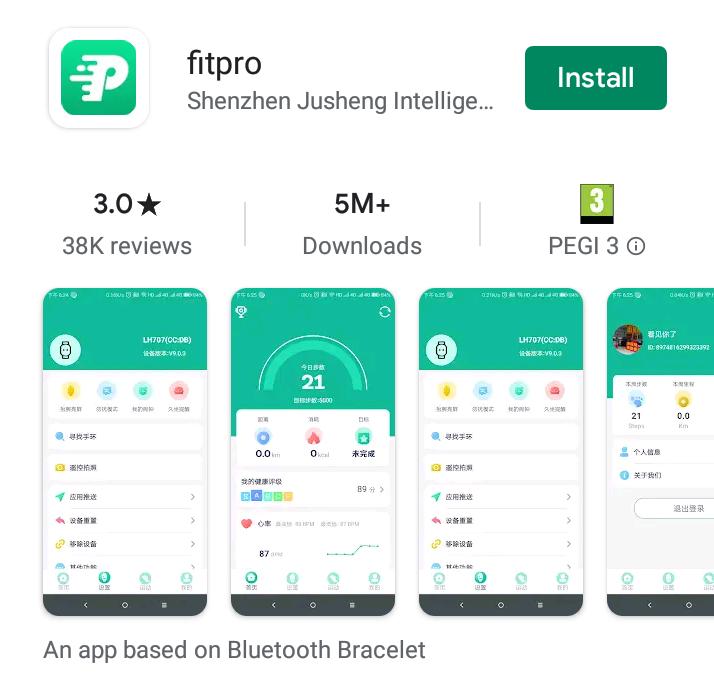 FitPro app menu in Google Play Store