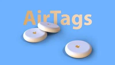 Apple AirTags on display