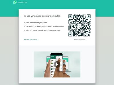WhatsApp Web log in screen