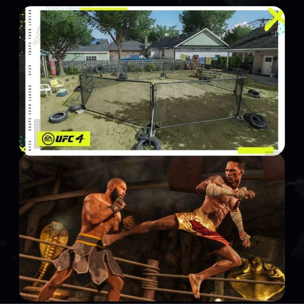 UFC 4 Gameplay in 'Backyard' and 'Underground temple'