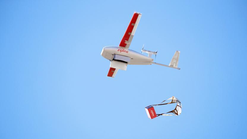 Zipline medical drone in the sky