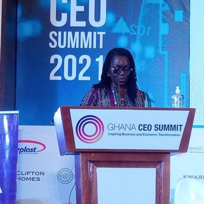 Ursula Owusu speaking at CEO Summit 2021