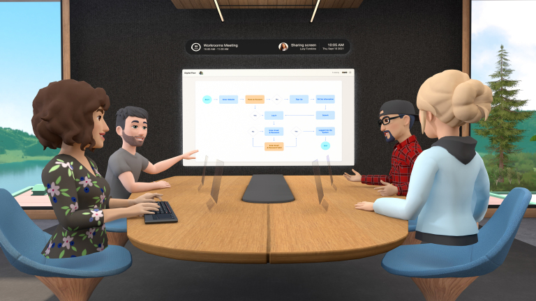 Facebook's Horizon Workrooms with 4 character avatars and a whiteboard