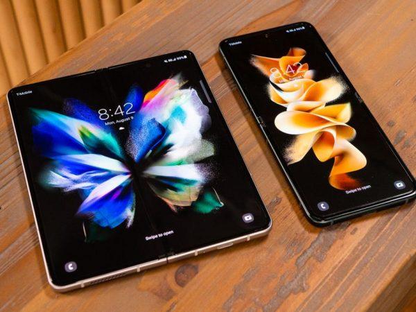 Samsung Galaxy Z Fold 3 and Z Flip 3 lying side by side